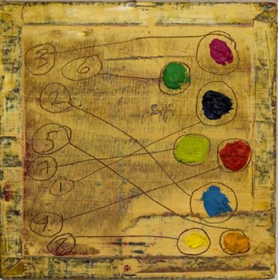 """Short Stories, 1996. Oil on cigar box, 10.5""""x10.5"""" framed"""