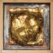 """Municipal Court, 2016. Oil , variegated, gold leaf on cigar box, 12.5 x 12.5 """", framed"""